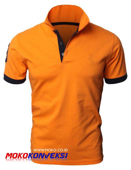 Model Kaos Wangki / Polo Shirt Kombinasi Warna Orange Hitam
