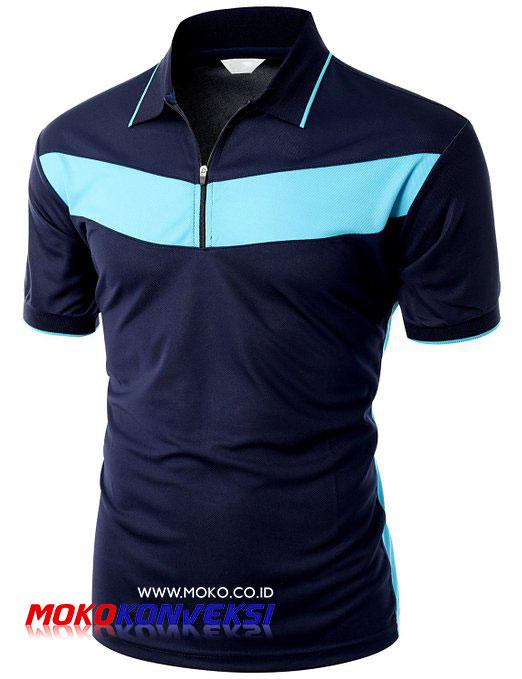 Pesan Kaos Polo Shirt Online Warna Biru Navy Biru Muda