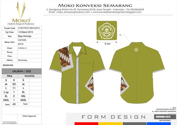 Contoh Baju Batik Kerja Karang Taruna Semarang Pria Kombinasi Batik Dengan Logo Karang Taruna Indonesia