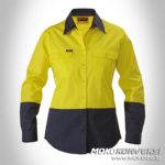 model wearpack wanita kuning biru dongker depan
