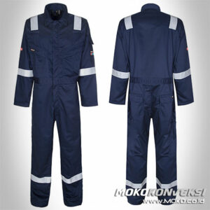 Model Wearpack Terbaru Coverall Warna Biru Navy Scotchlite Reflektor