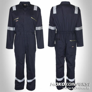 Wearpack Design Coverall Safety Warna Hitam Scotchlite Reflektor