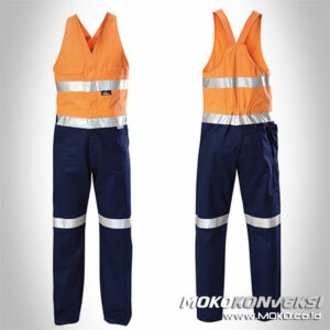 Contoh Model Baju Wearpack Safety Coverall Tanpa Lengan Warna Orange Navy