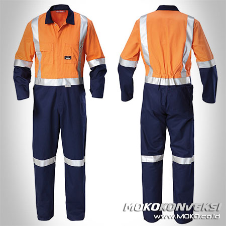 Desain Wearpack Coverall Safety Warna Orange Navy Scotchlite Reflektor