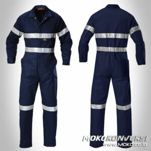 Model Baju Wearpack Coverall Safety Warna Navy Polos Scotchlite