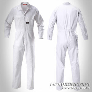 Model Wearpack Pertamina Coverall Warna Putih Polos
