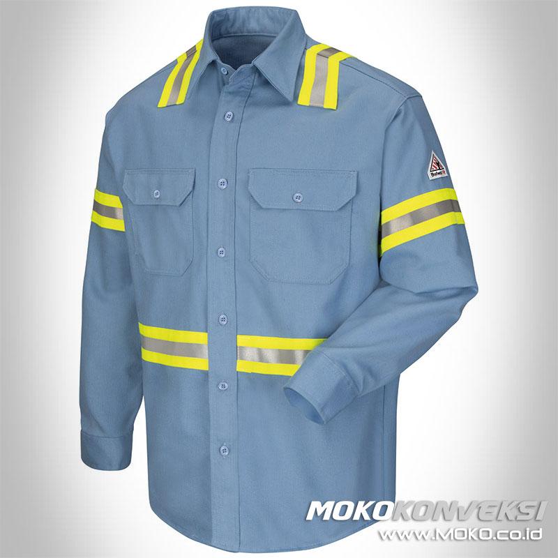 baju safety contoh baju seragam kerja lapangan k3 lengan panjang