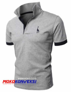 Supplier Polo Shirt | Kaos berkerah polo bordir warna abu-abu misty