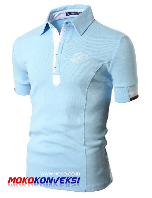 Model Polo Shirt bordir biru Terbaru