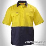 Desain Seragam Wearpack Kerja Lengan Pendek Warna Kuning Biru Donker / Navy