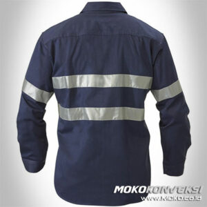 Harga Wearpack Safety Model Seragam Kerja Lapangan Warna Biru Navy / Dongker Polos Plus Scotchlite Tape