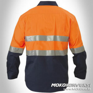 Model Baju Lapangan Wearpack Kerja Scotchlite Tape Warna Orange Dongker Baju Safety Lengan Panjang