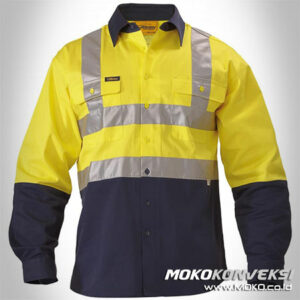 Harga Wearpack Safety Model Baju Wearpack Lengan Panjang Warna Kuning Biru Dongker / Navy Scotlight