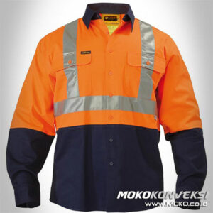 Model Baju Wearpack Kerja Safety Scotlight Tape Lengan Panjang Warna Orange Biru Dongker / Navy Desain Alternatif