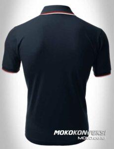 baju kaos kerah pria polo shirt double stripes warna hitam moko konveksi