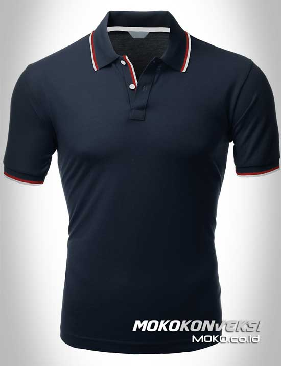 harga kaos kerah polo shirt double stripes warna hitam moko konveksi