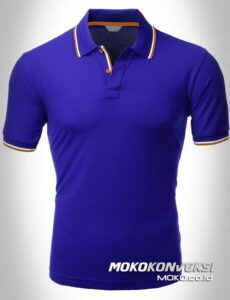 kaos polo bordir polo shirt double stripes warna biru moko konveksi