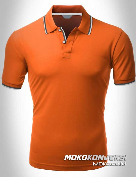 kaos polo kerah polo shirt double stripes warna orange moko konveksi