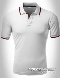 jual kaos kerah polo shirt double stripes warna putih moko konveksi