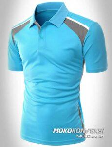 baju kaos berkerah terbaru model polo shirt sporty warna biru depan moko konveksi