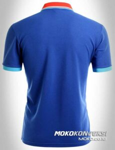 baju kaos kerah polo shirt triple stripes warna biru moko konveksi