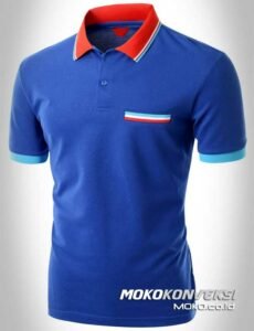model kaos polo shirt terbaru triple stripes warna biru moko konveksi