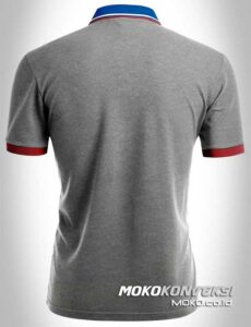 model kaos berkerah polo shirt triple stripes warna abu abu moko konveksi