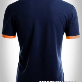 baju kaos polo shirt triple stripes warna biru navy moko konveksi