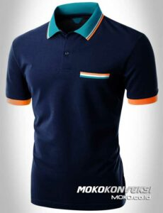 harga polo shirt triple stripes warna biru navy moko konveksi