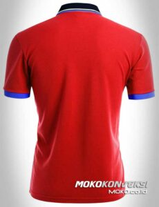 jual kaos polo shirt triple stripes warna merah moko konveksi