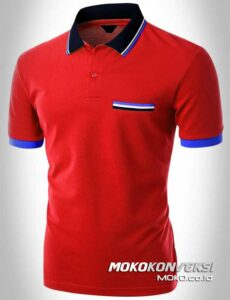 kaos polo shirt triple stripes warna merah moko konveksi