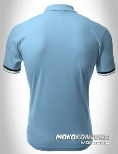 kaos polo online polo shirts double stripes warna biru moko konveksi