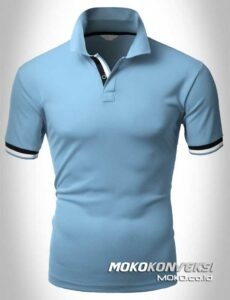 harga kaos polo shirts double stripes warna biru moko konveksi