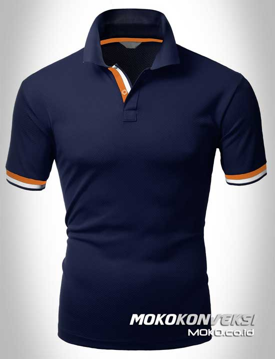 kaos polo keren model polo shirts double stripes warna biru navy moko konveksi