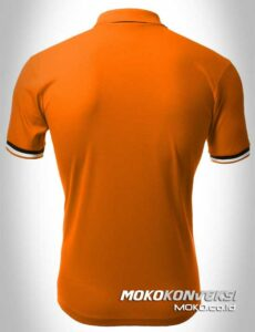 kaos promosi murah polo shirts double stripes warna orange moko konveksi
