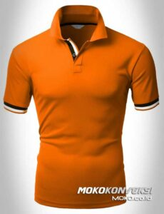 kaos big size polo shirts double stripes warna orange moko konveksi
