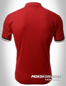 model kaos kerah terbaru polo shirts double stripes warna merah moko konveksi