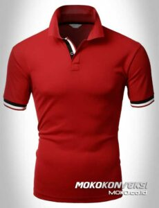 supplier kaos polo shirts double stripes warna merah moko konveksi