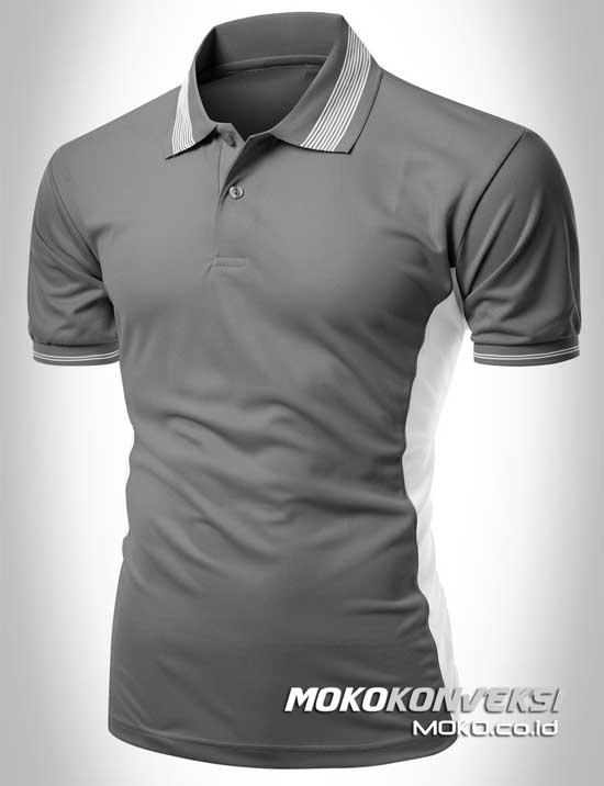 contoh kaos seragam polo shirt custom warna abu abu putih moko konveksi