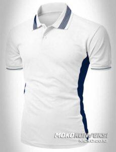 kaos seragam polo shirt custom warna putih moko konveksi