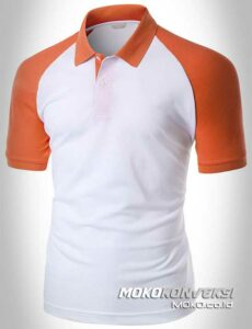 sablon polo shirt raglan warna orange putih moko konveksi