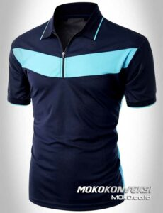 design kaos berkerah polo shirt zipper warna navy & sky moko konveksi