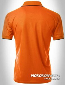 kaos model polo shirt zipper warna orange hitam moko konveksi