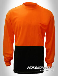supplier kaos original tshirt safety kombinasi orange biru dongker lengan panjang moko konveksi