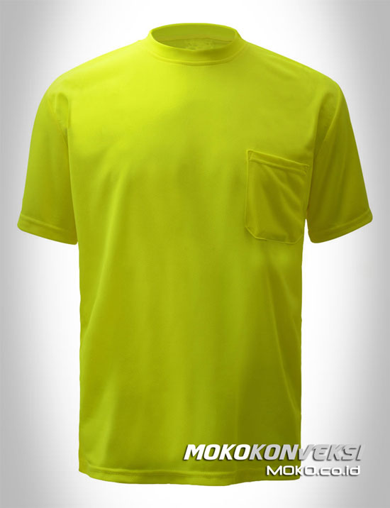 model kaos polos safety warna hijau lime lengan pendek moko konveksi