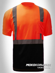 konveksi kaos t shirt safety indonesia kombinasi warna orange biru navy lengan pendek scotchlite moko konveksi