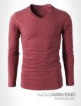 desain kaos v neck lengan panjang polos warna pink tua - moko konveksi jual sweater polos