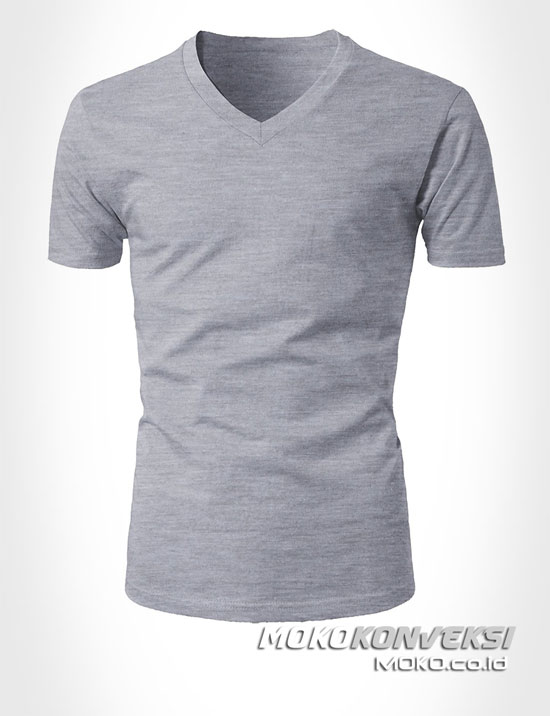 Model Kaos T-shirt V Neck Warna Abu Moko Konveksi ...