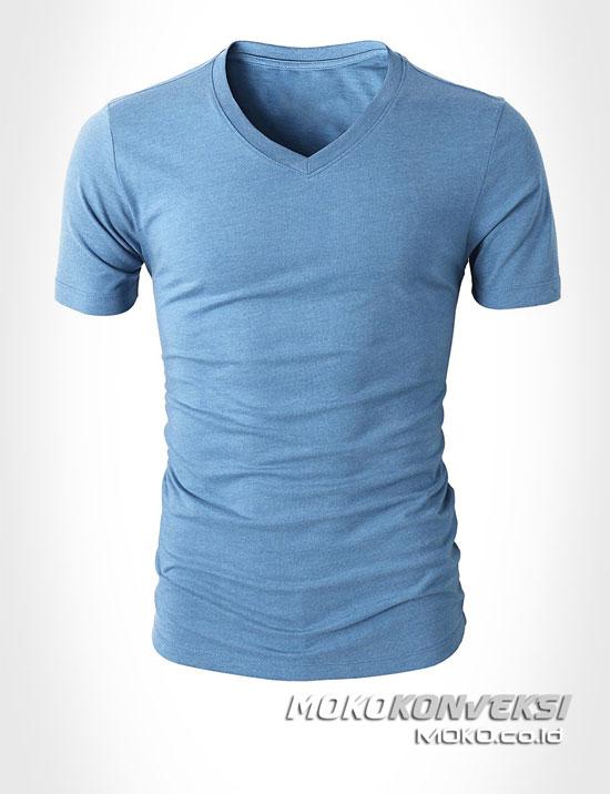 harga kaos oblong polos kerah v warna biru muda - moko konveksi jual kaos vinex