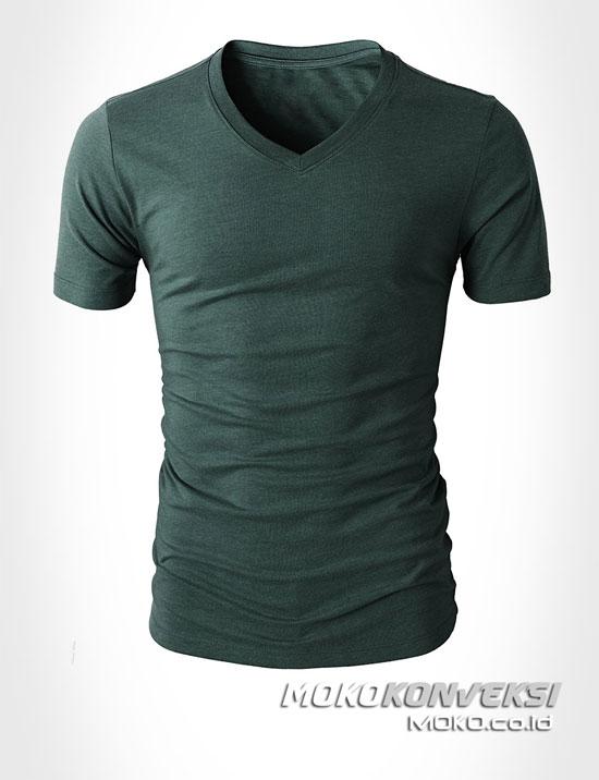 kaos leher v pria wanita warna hijau tua moko konveksi - jual baju v neck polos combed 30s